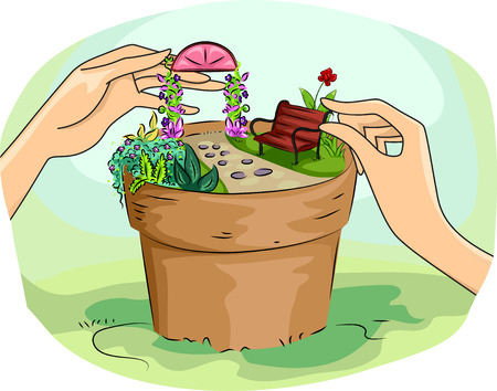mini: Illustration of a Woman Building a Miniature Garden in a Pot