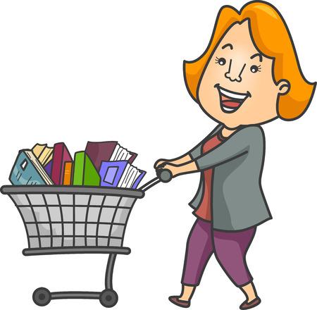 Illustratie van een vrouw duwen van een winkelwagen vol met boeken