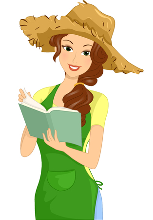 cartoon hat: Illustration of a Woman Writing on a Gardening Journal Stock Photo