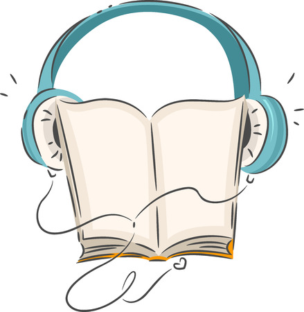 knowledge clipart: Illustration of a Book Wearing Blue Headphones