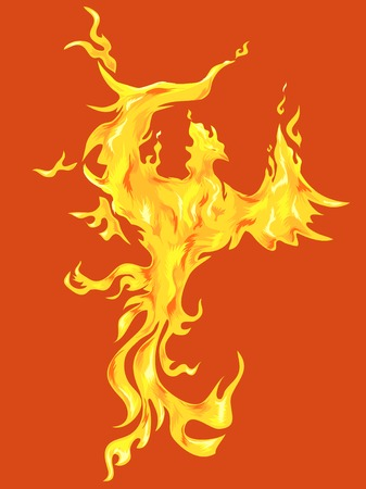 mythical phoenix bird: Illustration of a Golden Phoenix Against an Orange Background