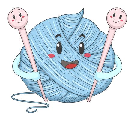 Mascot Illustration eines Wollknäuel Holding ein Paar Haken