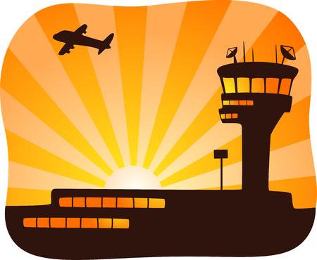 Illustratie van een vliegtuig verwijderd van een Control Tower at Sunset