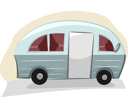 roadtrip: Illustration of a Trailer Van with Visible Curtains Stock Photo