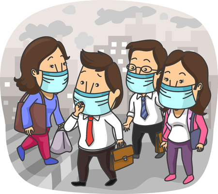 polluted: Illustration of the Residents of a Polluted City Wearing Surgical Masks