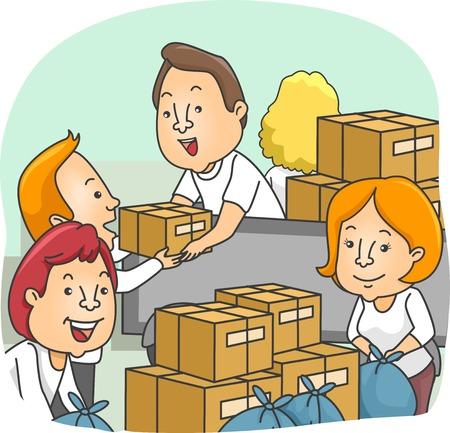 personas ayudando: Ilustración de Voluntarios de embalaje cajas de donación