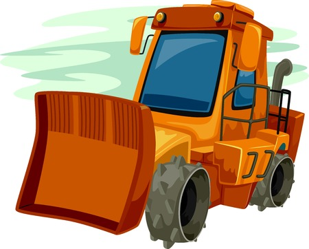 road construction: Illustration of a Bulldozer in a Parking Lot Ready to be Used
