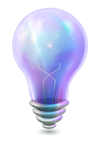 heavenly light: Colorful Illustration of a Light Bulb with Stars Inside - eps10