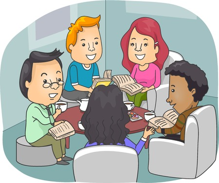 book club: Illustration of Book Club Members Discussing Novels While Drinking Coffee Stock Photo