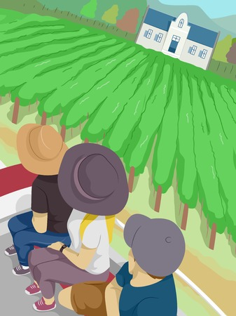 tour guide: Illustration of a Group of Tourists Touring a Vineyard