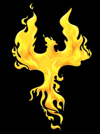 Illustration of a Golden Phoenix Against a Black Background Standard-Bild