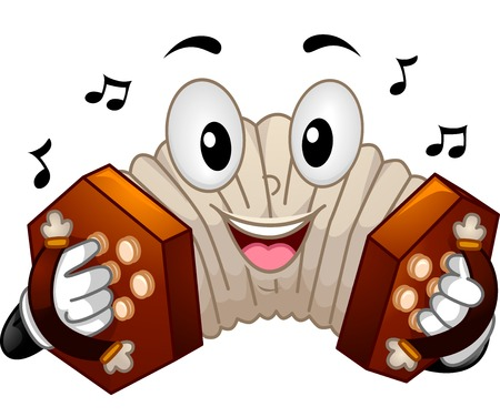 anthropomorphic: Mascot Illustration of a Concertina Pressing its Buttons
