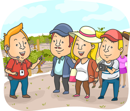 tour guide: Illustration of a Tour Guide Delivering a Spiel in a Vineyard
