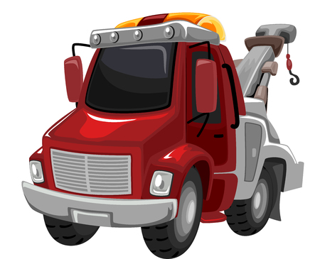 breakdown truck: Illustration of a Red Tow Truck Ready for Use