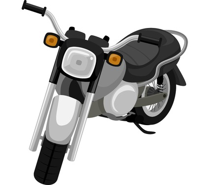 roadtrip: Illustration of a Black Motorcycle Ready for Use Stock Photo