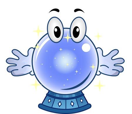 fortune teller: Mascot Illustration of a Sparkling Crystal Ball