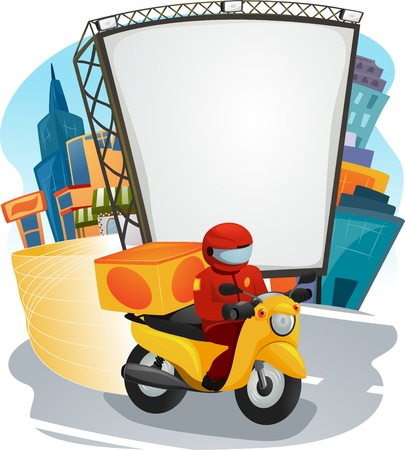 occupations: Illustration of a Fast Food Delivery Man Driving a Motorcycle