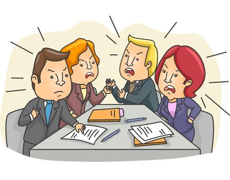Illustratie van een Gespannen Board Meeting met medewerkers Debatteren Stockfoto