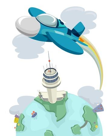 avion chasse: Illustration d'un avion de chasse volant au-dessus d'une tour de contrôle