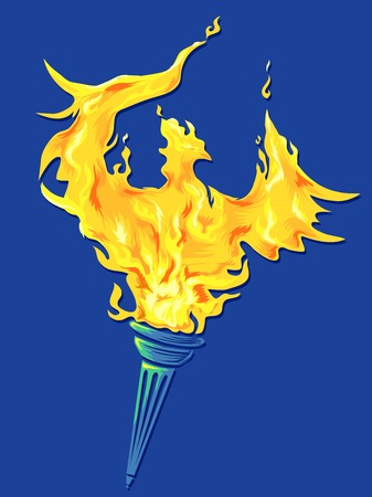 mythical phoenix bird: Illustration of a Golden Phoenix Rising Out of a Torch