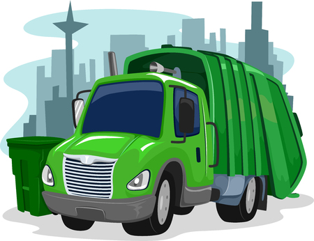 collectors: Illustration of a Green Garbage Truck Collecting Trash