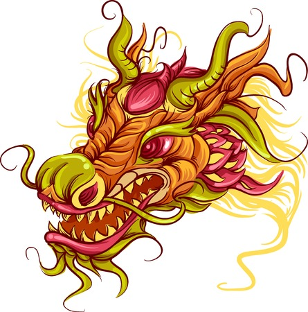 chinese dragon: Colorful Illustration of the Head of a Chinese Dragon