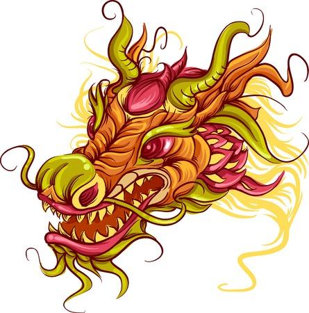 dragones: Ilustraci�n colorido de la cabeza de un drag�n chino