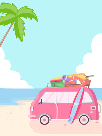 roadtrip: Illustration of a Pink Van Parked Beside the Beach