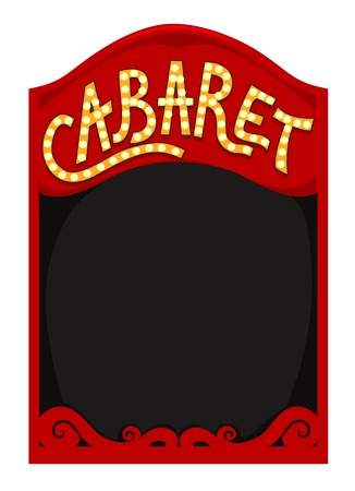 cabaret: Frame Illustration Featuring a Red Box with the Word Cabaret Written Above It