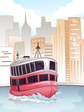 back and forth: Illustration of a Ferry Transporting Passengers Back and Forth Stock Photo
