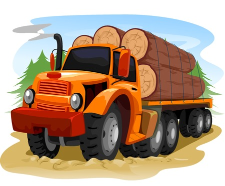 logging truck: Illustration of a Logging Truck Carrying Timber Stock Photo