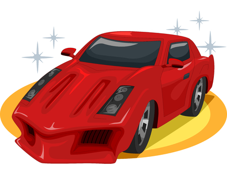 super car: Illustration of a Red Sports Car on Display at a Car Show