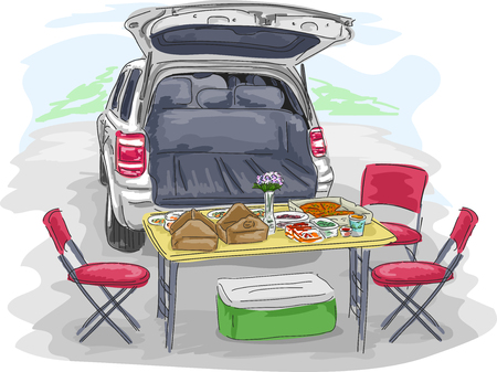 Illustratie van een Lunch Table Set Up op de rug van een SUV Stockfoto