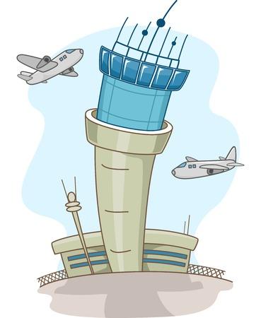 コントロール タワーの周りを旋回する飛行機のイラスト 写真素材