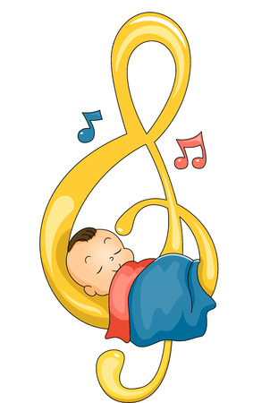 gclef: Illustration of a Cute Baby Sleeping Peacefully on a G-clef