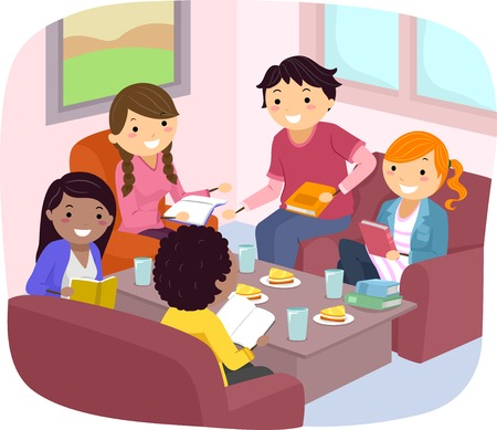 discussing: Stickman Illustration of Teenagers Discussing a Book
