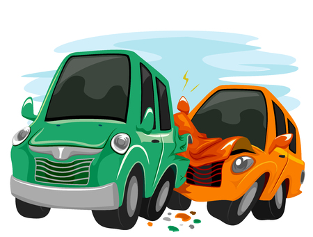 Illustration Featuring Cars Crashing Against Each Other Stock Photo