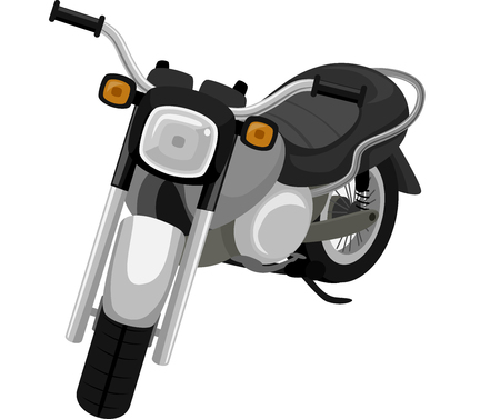 use: Illustration of a Black Motorcycle Ready for Use Stock Photo
