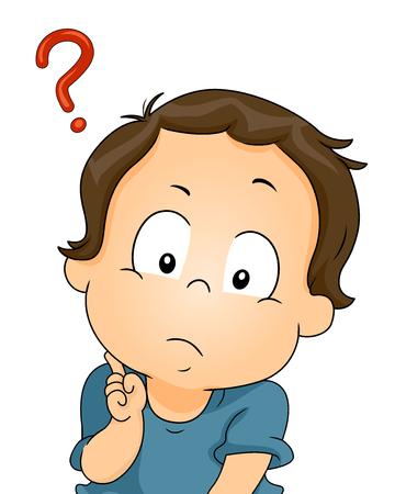 Illustration d'un bébé Perplexe avec une interrogation à côté de son chef