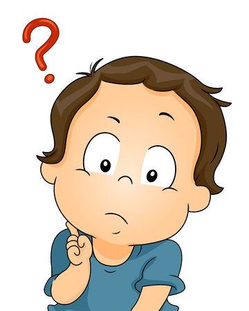 questions: Illustration of a Puzzled Baby with a Question Mark Beside His Head Stock Photo