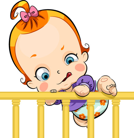 crib: Illustration of a Cute Baby Trying to Escape a Crib