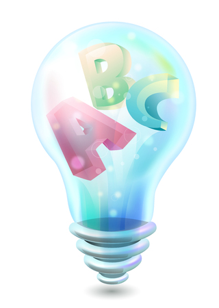grade schooler: Illustration of a Light Bulb with Letters of the Alphabet Inside -