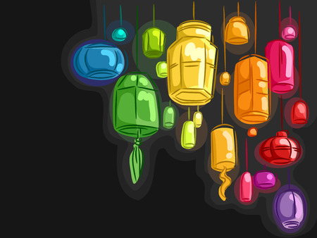 paper arts and crafts: Illustration of Colorful Lanterns Against a Black Background