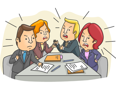 tensed: Illustration of a Tensed Board Meeting with Employees Arguing
