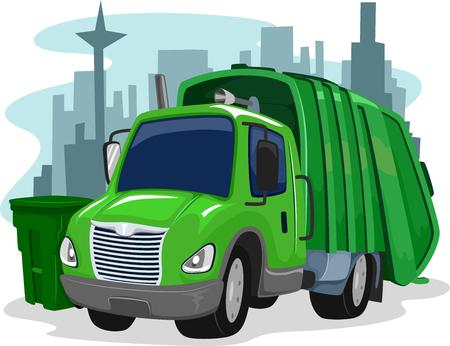 wheelie bin: Illustration of a Green Garbage Truck Collecting Trash