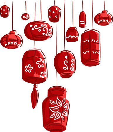 dangling: Colorful Illustration of Red Paper Lanterns Dangling from Above Stock Photo