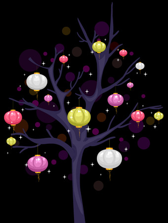 covered: Illustration of Colorful Lanterns Hanging from a Tree Covered in Darkness Stock Photo