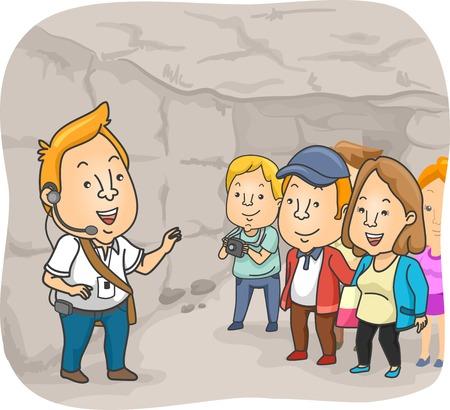 guia de turismo: Ilustración de un guía turístico La entrega de un Spiel Dentro de una catacumba