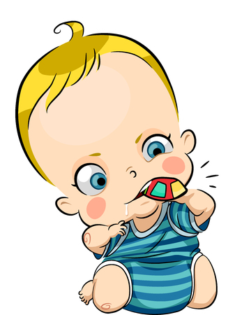 chew: Illustration of a Cute Baby Drooling While Nibbling on a Chew Toy Stock Photo