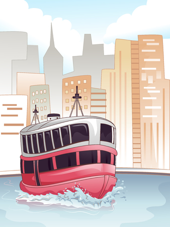 transporting: Illustration of a Ferry Transporting Passengers Back and Forth Stock Photo